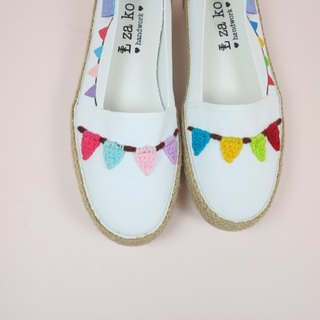 White cotton canvas hand-made shoes small flag paragraph weaving