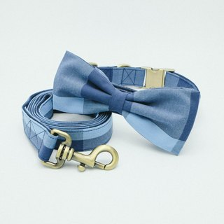 Bowtie Collar with Leash - Plaid Collection Blue / Navy.