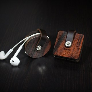 Personalized Headphone Cord Organizer, Wood Leather Case, Headphone Wrap Earbud Holder, Cord Wrap, iphone 7 Case Leather Earphone Organizer