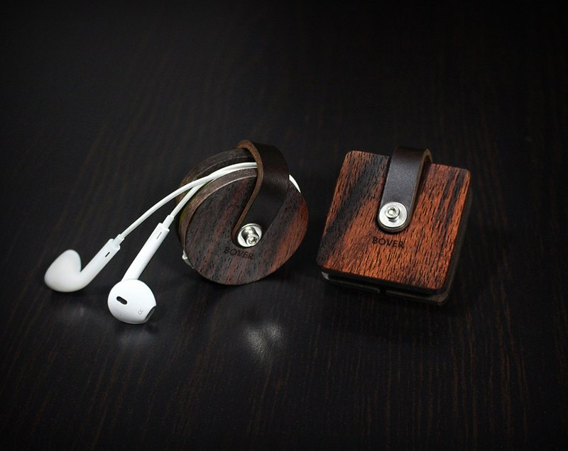 4d9c4fba86be Personalized Headphone Cord Organizer, Wood Leather Case, Headphone Wrap  Earbud Holder, Cord Wrap, iphone 7 Case Leather Earphone Organizer -  Designer BOVER ...