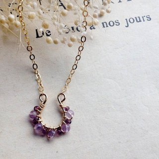 14kgf amethyst and vintage beads petit hose shoe necklace