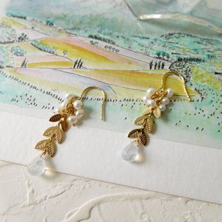 14K gold texture pearl leaf moonstone earrings can be changed