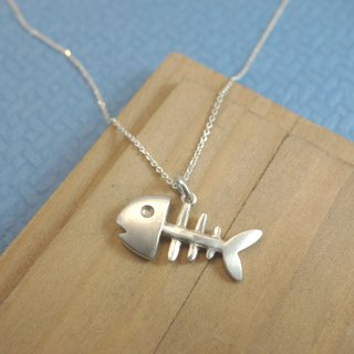 Sterling Silver - Fish Bone Necklace - Merchandise with Silver Chain