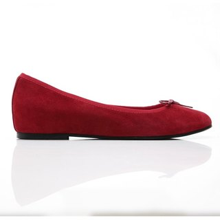 [Saint Landry] LAND classic suede bow ballet shoes - Rose Red