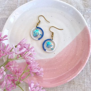 Handmade Embroidery // Wishing Star River Hook Earrings - Blue and White / / Clipable