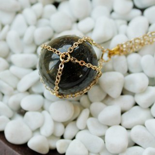 Yellow tiger eye retro crystal ball Necklace