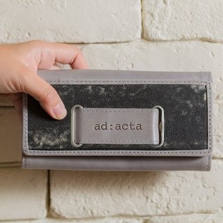 ad:acta Geldtasche - eye-catching wallet/clutch - German handmade, upcycling, Italian Nappa leather (grey/fossil)