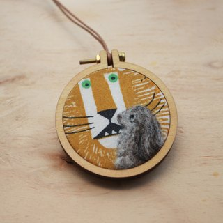 Bunny and Lion Wool Felt Two Way Pendant / Brooch
