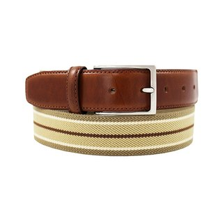 LAPELI │ Belgian elastic fabric belt - mix and match striped earth / meter