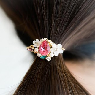 Freshwater Pearl Shell Flower Bijou Pony Hook Hair Rubber Ornament Rose