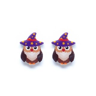 Fox Garden Handmade Halloween Series: Magic intern owl earrings / ear clips / earrings party must specify if no specified transparent ear clip shipping