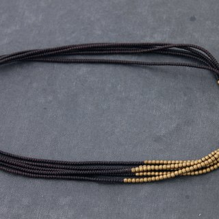 Multi Strand Short Woven Beaded Necklaces Raw Brass Brown Cord Braided Necklaces