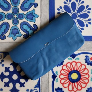 Wrinkle Turquoise Blue Leather Long Wallet / Purse Leather Purse