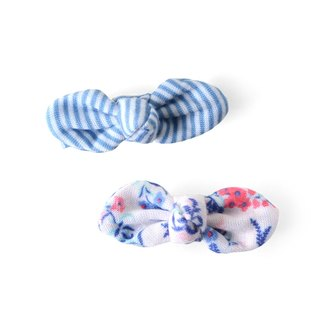 American Joli Sophie Bowknot Small Hairpin 2 In - Blue White Striped White Blue Flower JSHC2BSWF