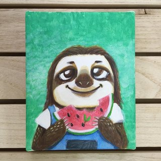"Small frame of the original painting, ""Mr. lazy tree"" watermelon 