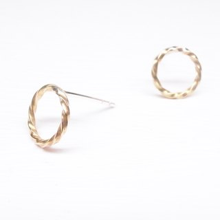 Ebony [simple round twist shape brass earrings] a pair