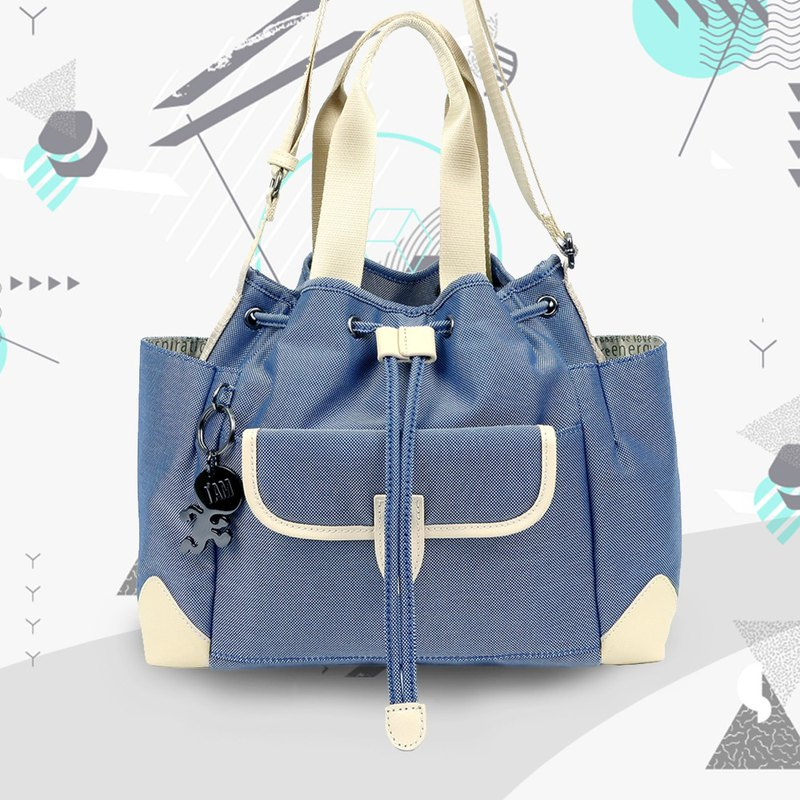 Free shipping I AM-TRINITY S Shoulder Bag / Short Shoulder Bag - Blue/White/Beige