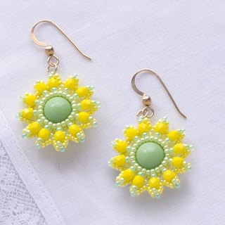Yellow flower dangle earrings, spring, floral jewelry for women, 375