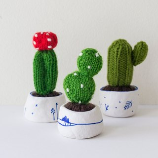 Miniature Knitted Cacti - home decor