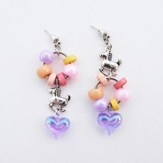 Rocking horse earrings with wooden beads and purple heart charm