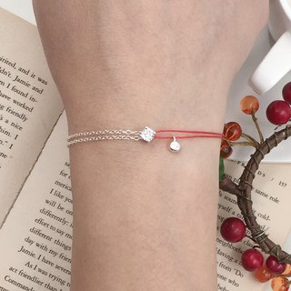 *Le Bonheur Line Happiness Line*Sterling Silver Four-prong Drill Semi-Strand Semi-circular Drill / Red Bracelet Design Extra-fine Thread Marriage Peach