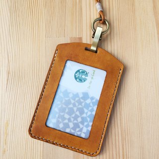 [Ji Ji] hand-sewn tanned leather ID card holder _ yellow brown with lanyard clip card holder identification card