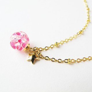 *Rosy Garden*Pink crystal water inside glass ball necklace