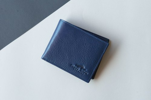 SHORT WALLET FOR MAN MADE OF THAI VEGETABLE TANNED LEATHER-NAVY/DARK BLUE