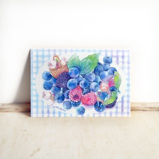 【Watercolor illustration postcard】Blueberries . Fruit Series