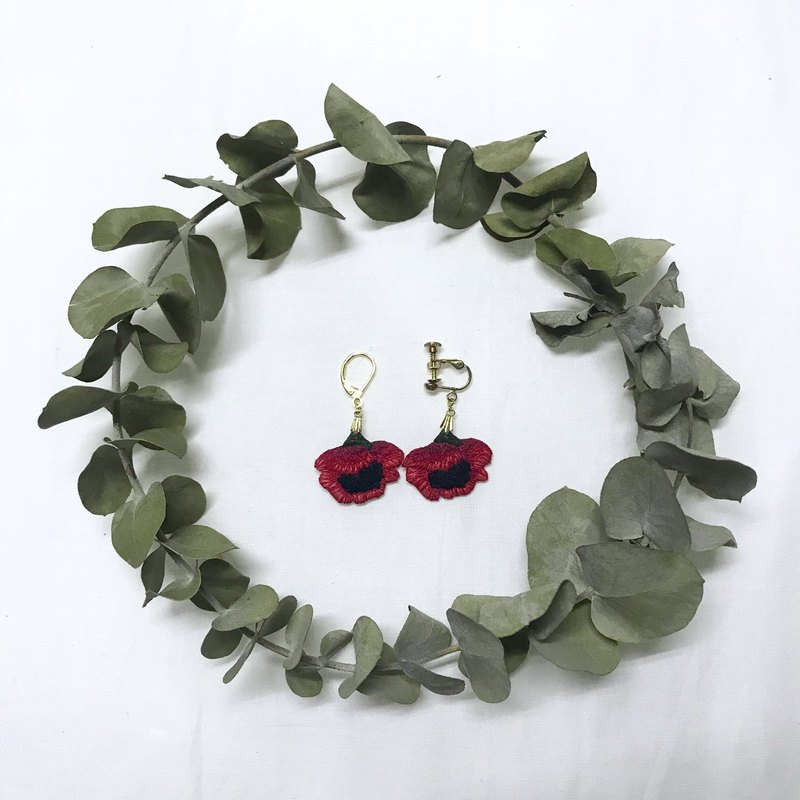 罌粟花 手工刺繡耳環