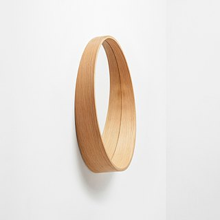 Slant wooden bevel mirror