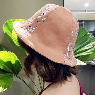 humming | embroidery gingham cap wearable