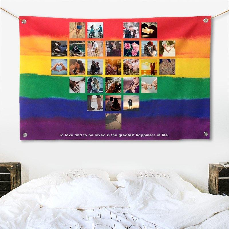 客製化照片掛布 彩虹愛心布幔