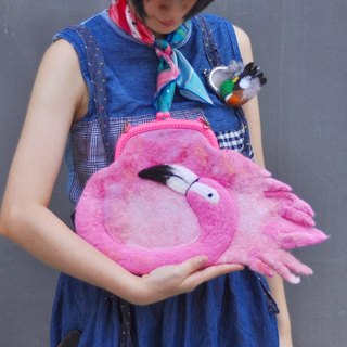 After school school hand a touch of pink flamingo wool felt handbag