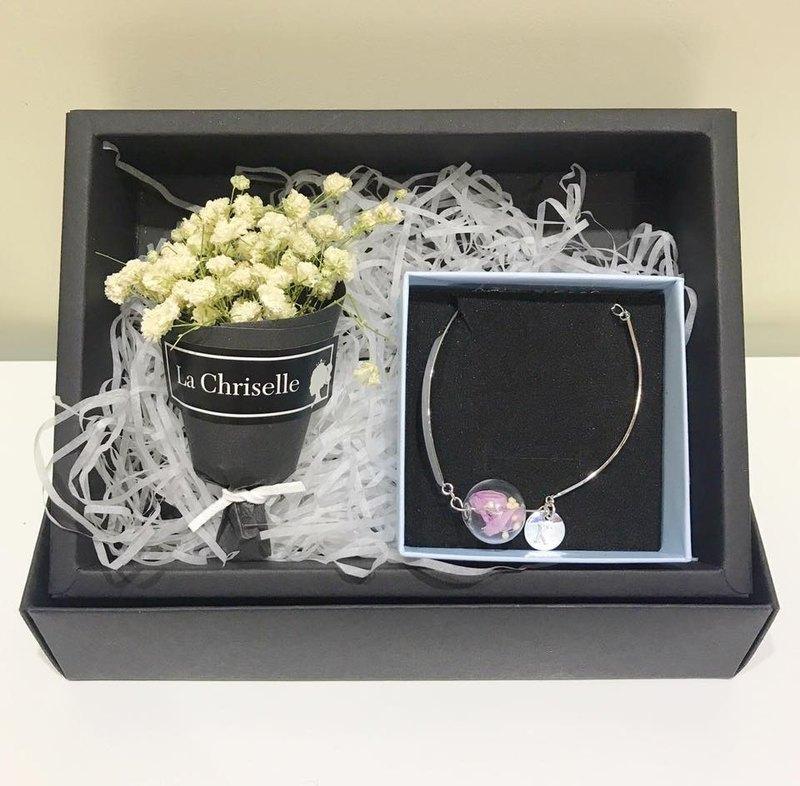 褔 Bag Gift Box Dried Flowers Flower Gift Box Moon Letters Bracelet
