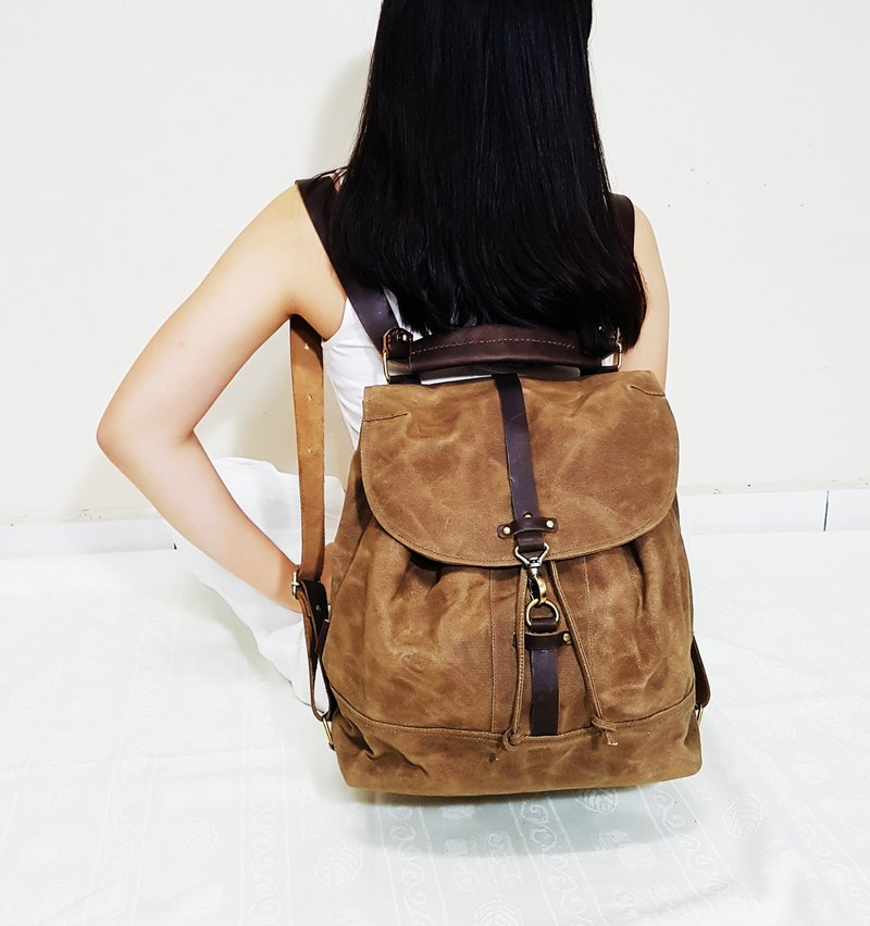 ad479c582ebf GENUINE LEATHER   WAXED CANVAS CONVERTIBLE DRAWSTRING BACKPACK   SLING BAG  - Designer Kinies