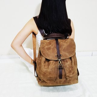 GENUINE LEATHER & WAXED CANVAS CONVERTIBLE DRAWSTRING BACKPACK / SLING BAG