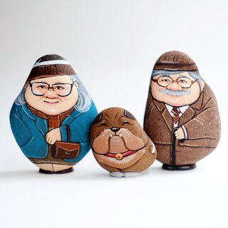 The Couple Grandparents and cute dog Stone painting.