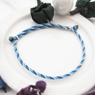 Big staff Taipa [manually made] sea 喃 × wax rope bracelet hand rope bright wax line blue