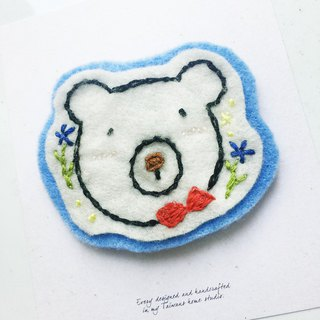 Cha mimi. Hand Embroidered Love embroidery! - Pin x Polar Bear