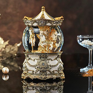 Gorgeous golden carousel (lights) crystal ball music box Valentine's Day birthday gift home decorations