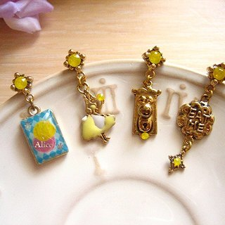 [Jolie baby] Alice Colorful Series - Alice Eat Me and Mr. lock lemon earrings set