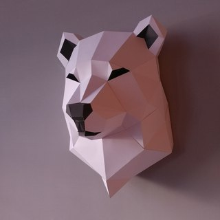 3D paper model _ minimalist polar bear wall decoration _DIY Kits_ hand combination