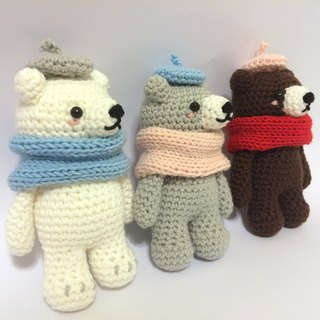 Aprilnana_Bear Baby Three Brothers Brown Yarn Doll Weaving Bear