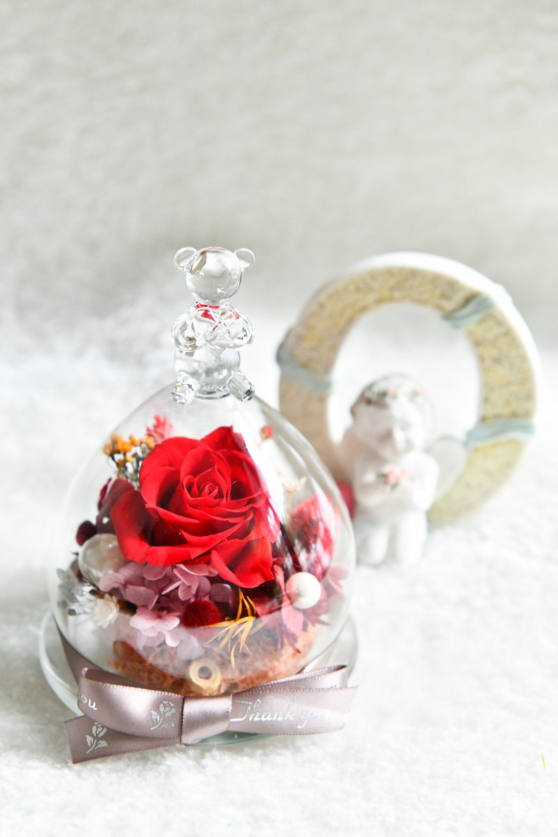 Bear Hugs Heart 擁抱之心 小熊恆星花禮-經典紅玫瑰款