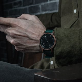PRIME 1.1.1 Walnut Wood Wooden Watch - Forest Green 42mm