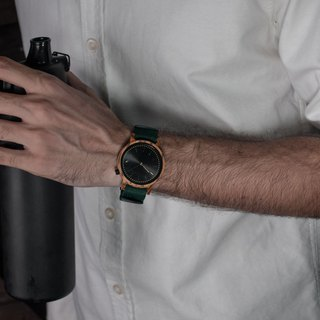PRIME 1.2.1 Zebrawood Wooden Watch - Forest Green 42mm