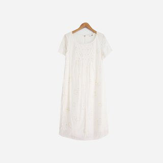 Dislocation vintage / line print white dress no.744 vintage