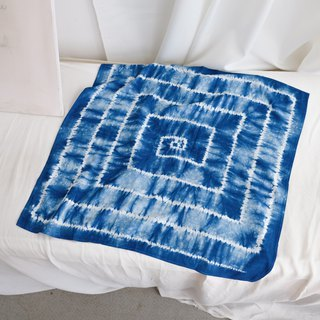 Back-shaped square original blue dyed tie dyed handmade cotton wild scarf scarves scarf smooth cool texture thin