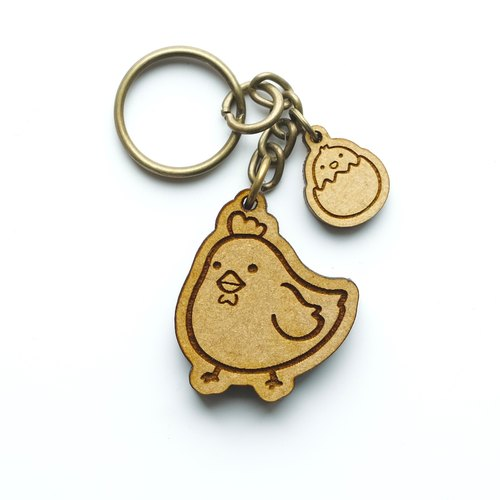 Wooden key ring - Hen with chicks